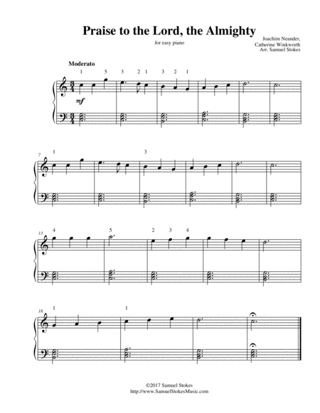 Praise to the Lord, the Almighty - for easy piano