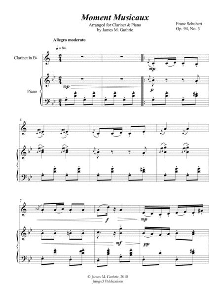 Schubert: Moment Musicaux for Clarinet & Piano