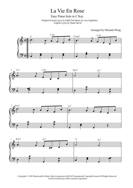 La Vie En Rose - Easy Piano Solo in C Key (With Chords)