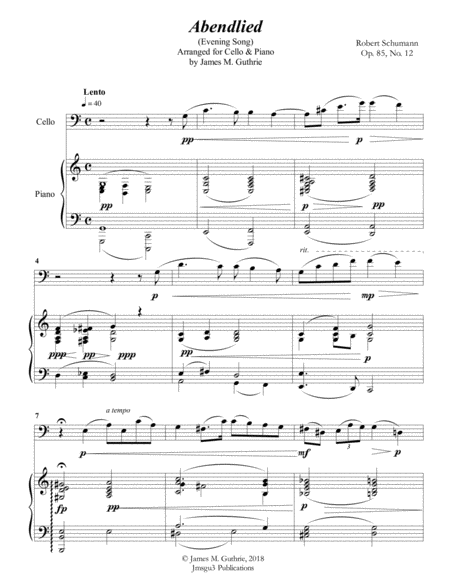 Schumann: Abendlied for Cello & Piano