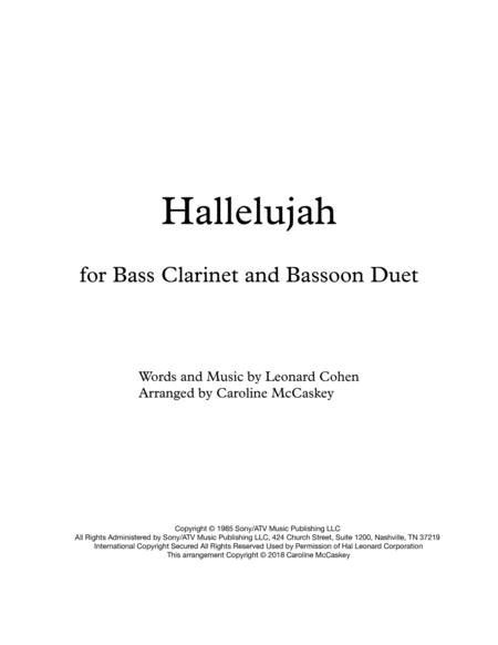 Hallelujah - Bass Clarinet and Bassoon Duet