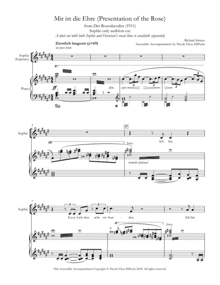 Mir ist die Ehre (Presentation of the Rose - Sophie-Only Audition Cut) from Der Rosenkavalier - Accessible Accompaniments Edition