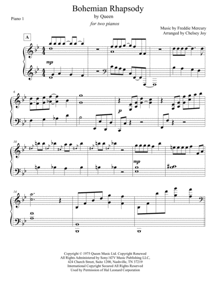 Bohemian Rhapsody for Two Pianos