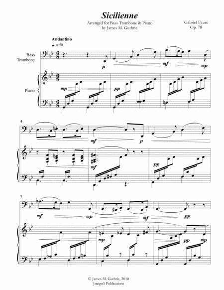 Faure: Sicilienne for Bass Trombone & Piano