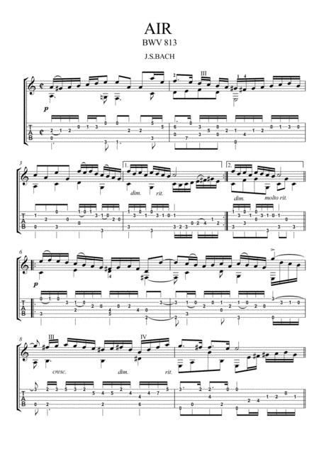 Bach for Guitar Air BWV 813