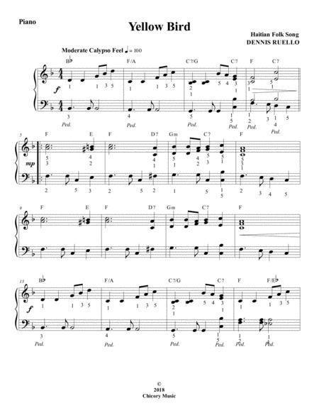 Yellow Bird - Haitian Folk Song - Intermediate Piano Solo