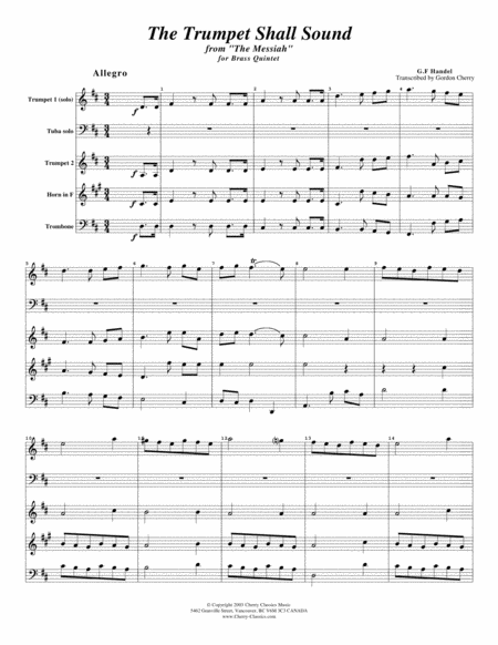 Trumpet Shall Sound (Key of D) for Brass Quintet