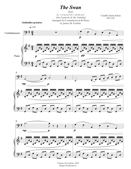 Saint-Saens: The Swan for Contrabassoon & Piano