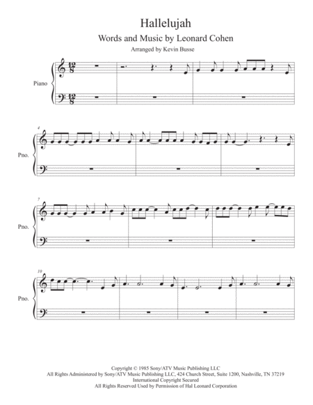 Hallelujah - (In the easy key of C) - Easy Piano