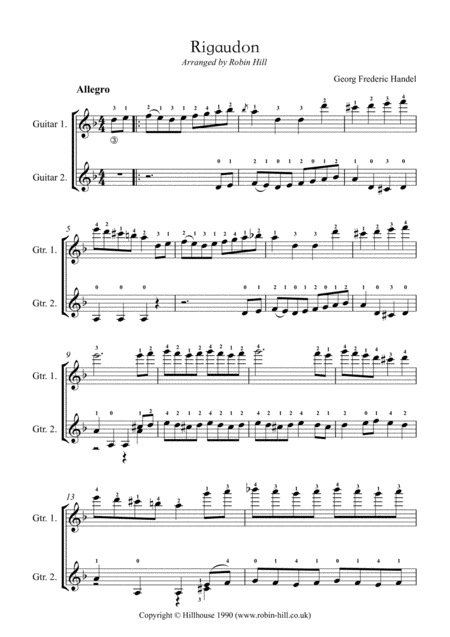 Rigaudon (arranged for two guitars)