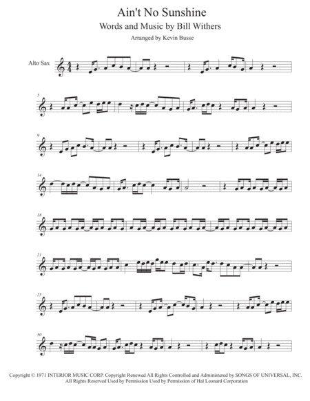 Ain't No Sunshine - (Easy key of C) - Alto Sax