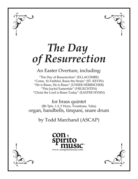 The Day of Resurrection — Easter overture for brass, organ, handbells, percussion