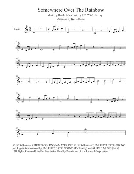 Somewhere Over The Rainbow (Easy key of C) - Violin