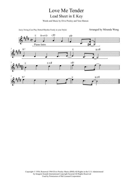 Love Me Tender - Lead Sheet in Published E Key (Elvis Presley)