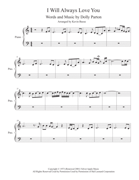 I Will Always Love You (Easy key of C) - Piano