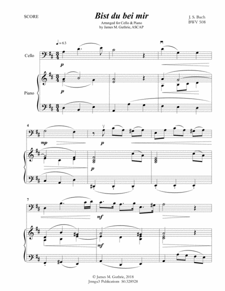 Bach: Bist du bei mir BWV 508 for Cello & Piano
