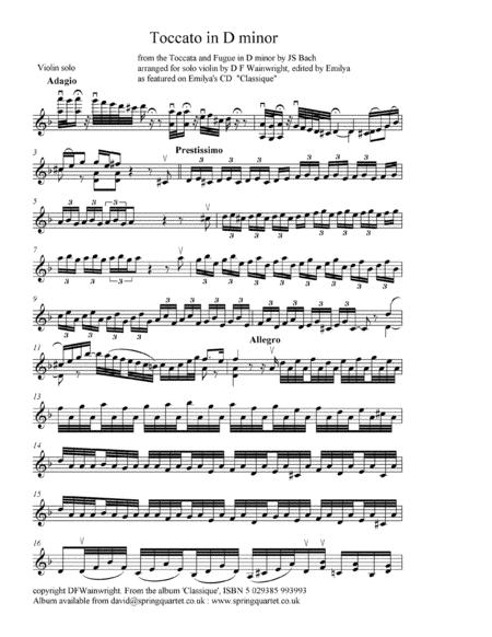Toccata in D minor from the Bach Toccata & Fugue arranged for solo violin