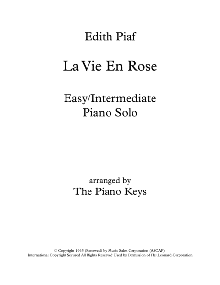 La Vie En Rose Easy/Intermediate Piano Solo