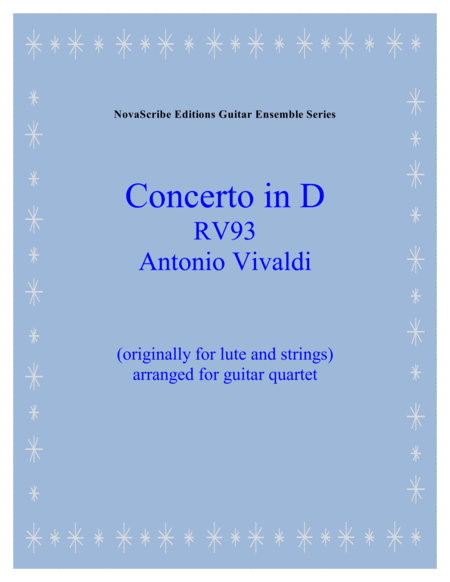 Lute Concerto in D R.V. 93   arr. for guitar quartet