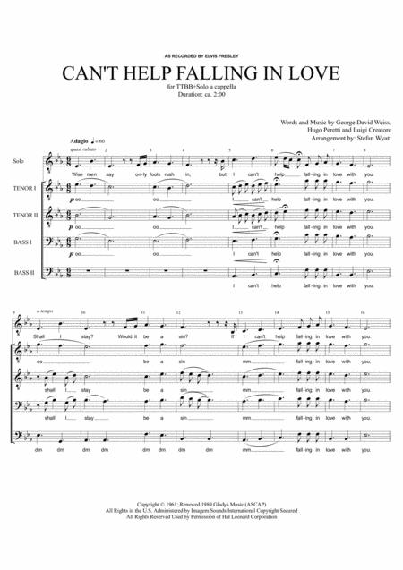 Can't Help Falling In Love - TTBB+Solo a cappella