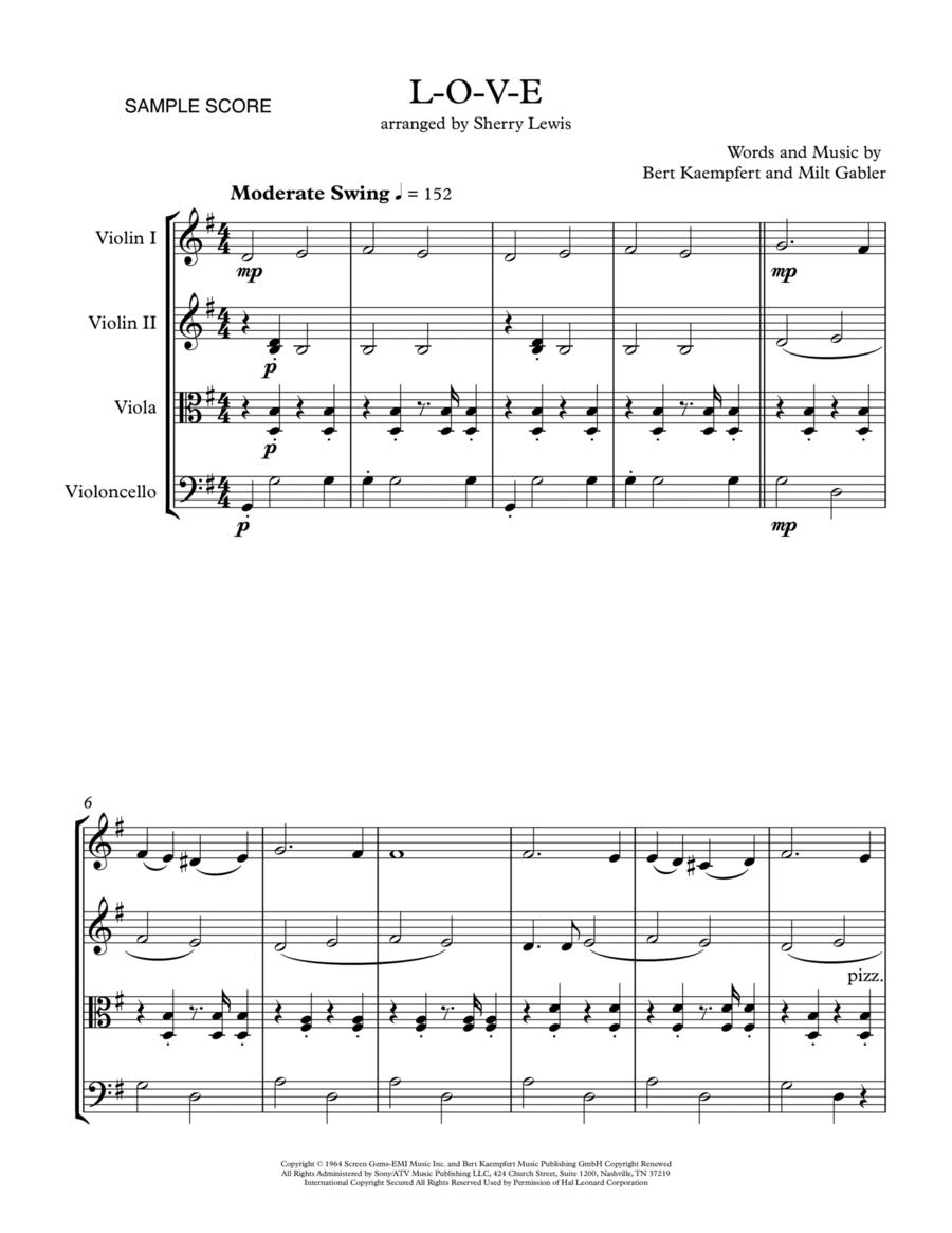 L-O-V-E LOVE for String Quartet, String Trio, String Duo, Solo Violin, String Quartet + string bass chord chart