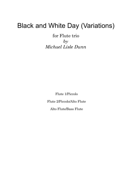 Black and White Variations for Flute Trio