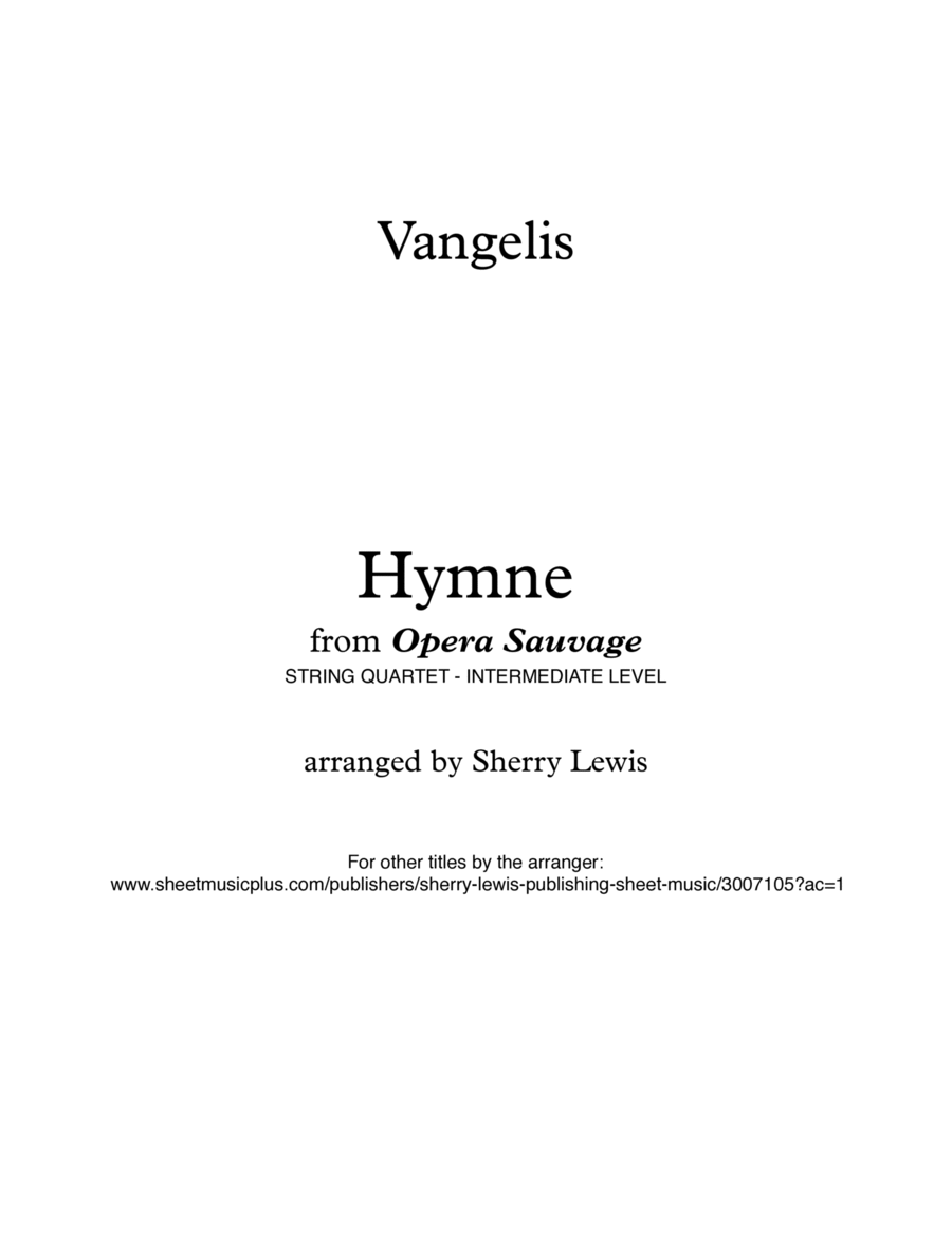 Hymne for String Quartet, String Trio, String Duo, Solo Violin, String Quartet + string bass chord chart, arranged by Sherry Lewis