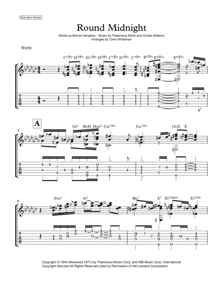 Round Midnight - Jazz Guitar Chord Melody