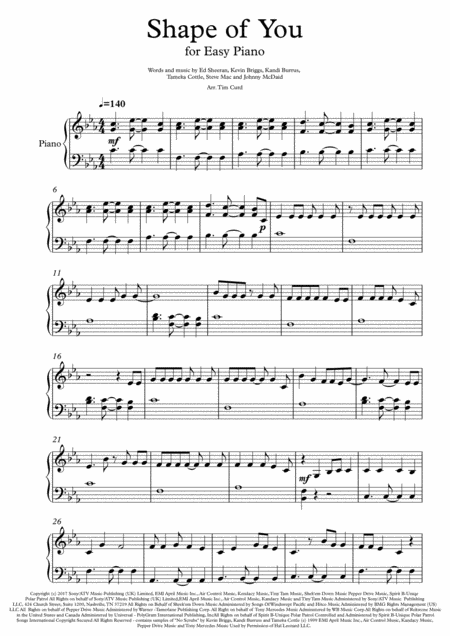 Shape Of You for Easy Piano