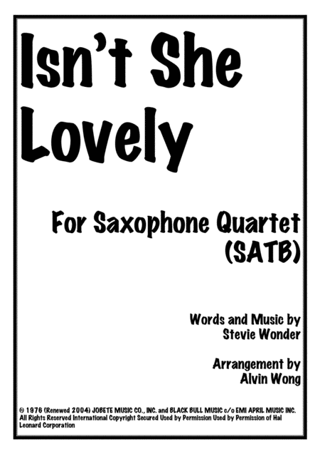 Isn't She Lovely - Saxophone Quartet