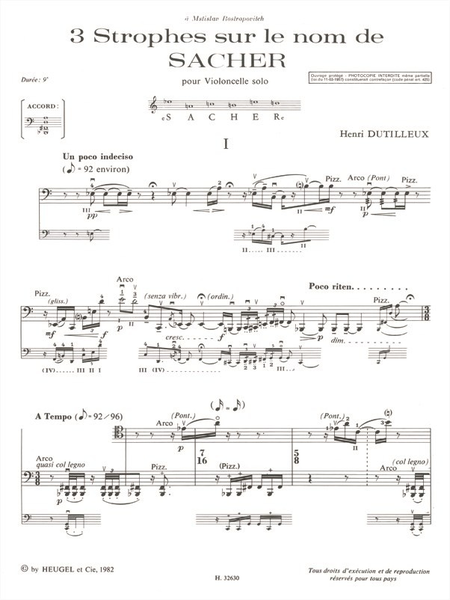 3 Strophes Sur Le Nom de Paul Sacher Violoncelle Seul