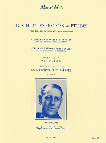 18 Exercices ou Etudes D'Apres Berbiguier Tous Saxophones