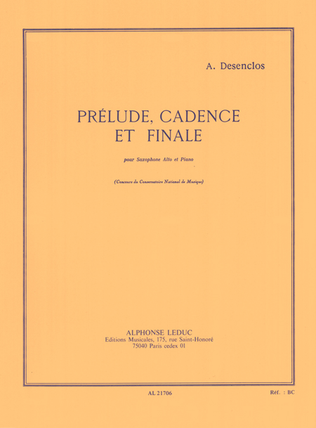 Prelude Cadence et Finale - Saxophone Mib et Piano