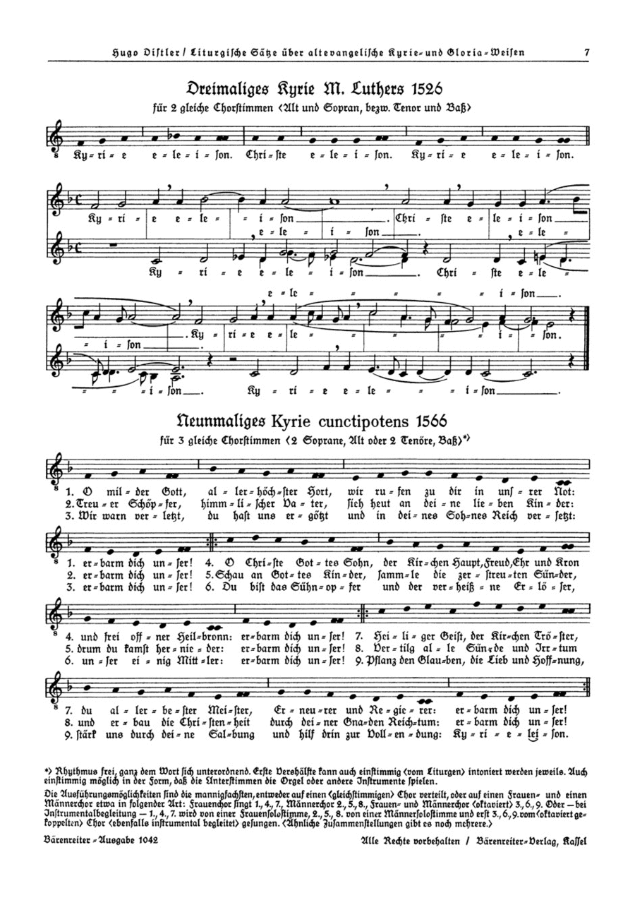 Dreimaliges Kyrie Martin Luthers 1526 (SA) / Neunmaliges Kyrie cunctipotens 1566 (SSA), Op. 13