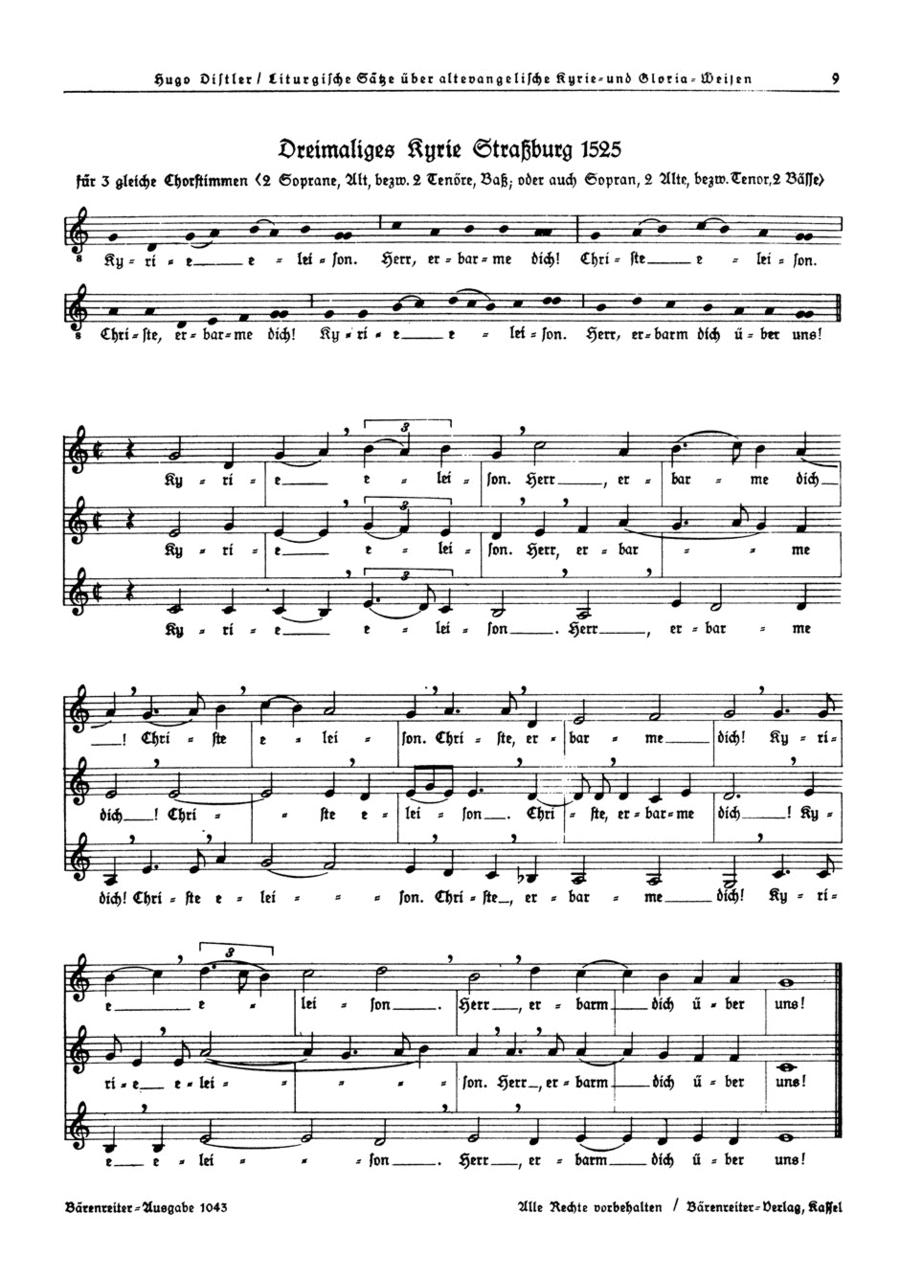 Dreimaliges Kyrie Strassburg 1525 (SSA) / Dreimaliges Kyrie Nurnberg 1525 (SA) / Dreimaliges Kyrie Nurnberg 1525 (SAA) op. 13