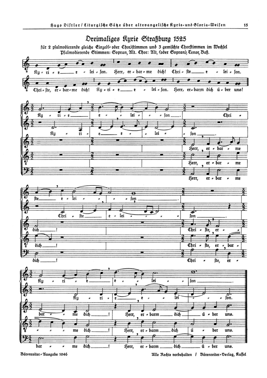 Dreimaliges Kyrie Strassburg 1525 (SA+STB) / Dreimaliges Kyrie Martin Luthers 1526 (Solo-S, SATB) op. 13
