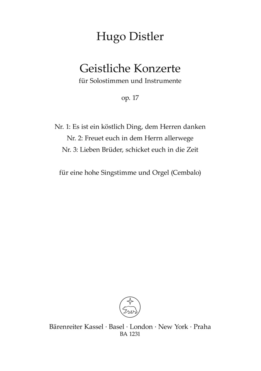 Three sacred concertos for Soprano and Organ (manually) or Harpsichord op. 17