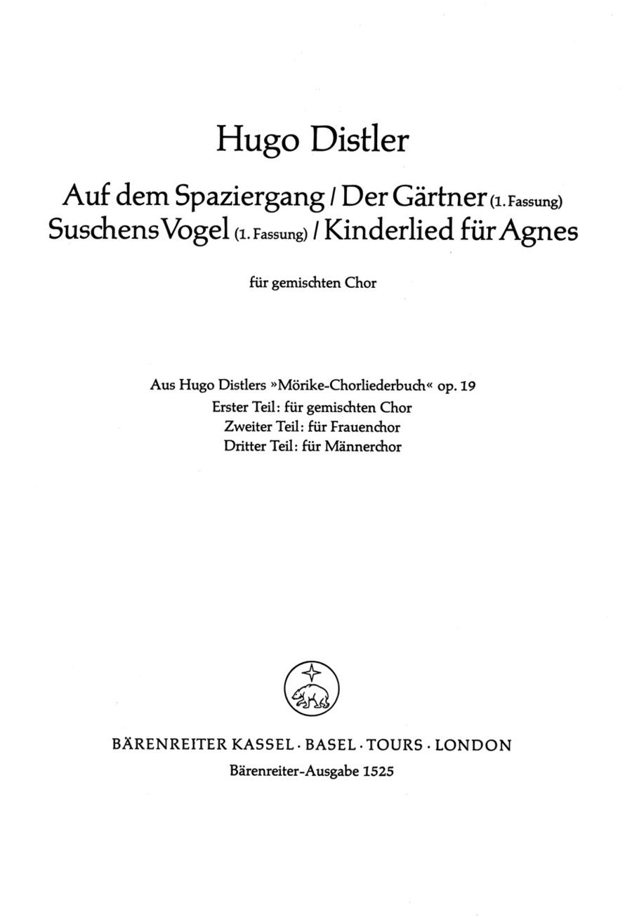 Kinderlied fur Agnes und drei Kanons, Op. 19