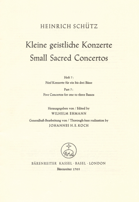 Small Sacred Concertos, Volume 7