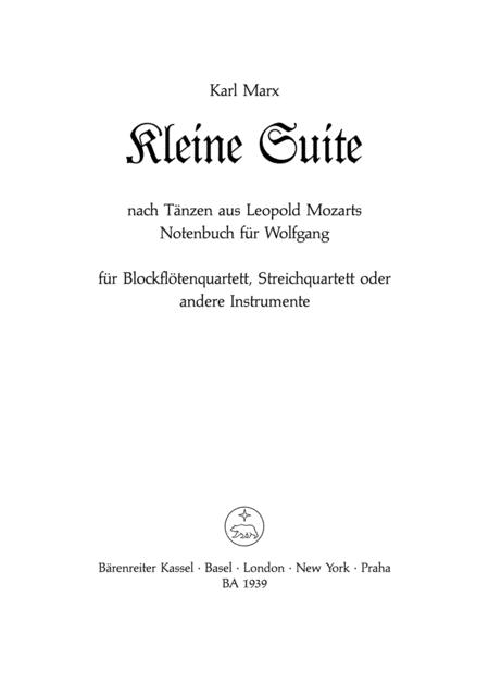Kleine Suite nach Tanzen aus Leopold Mozarts Notenbuch fur Wolfgang