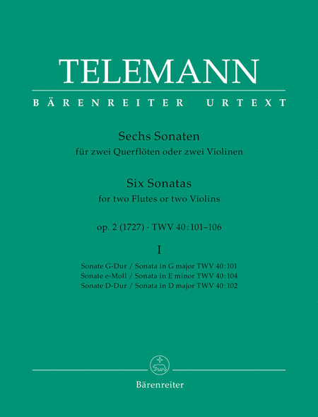 Six Sonatas For Two Flutes Or Violins, Volume 1 (#1-3)