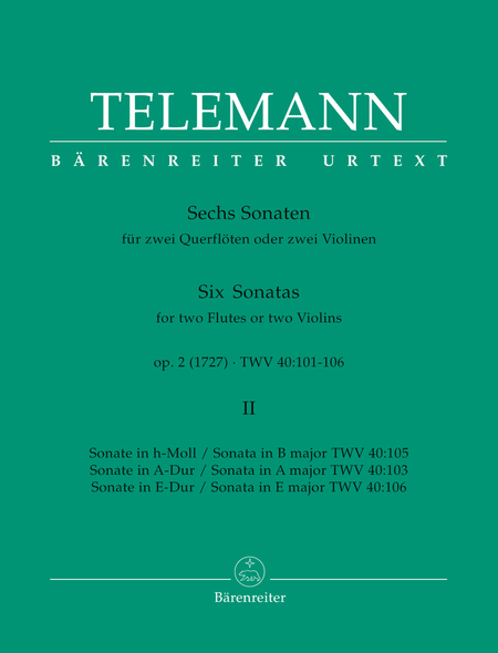 Six Sonatas For Two Flutes Or Violins, Volume 2 (#4-6)