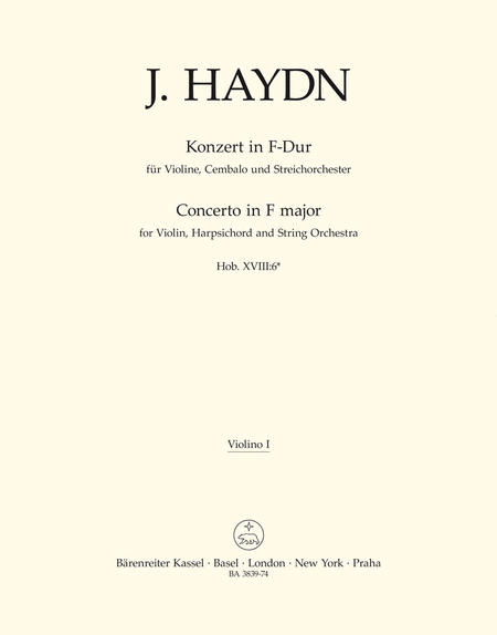 Concerto for Violin, Harpsichord and Strings F major Hob XVIII:6*