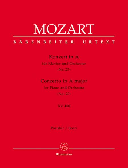 Concerto for Piano and Orchestra, No. 23 A major, KV 488