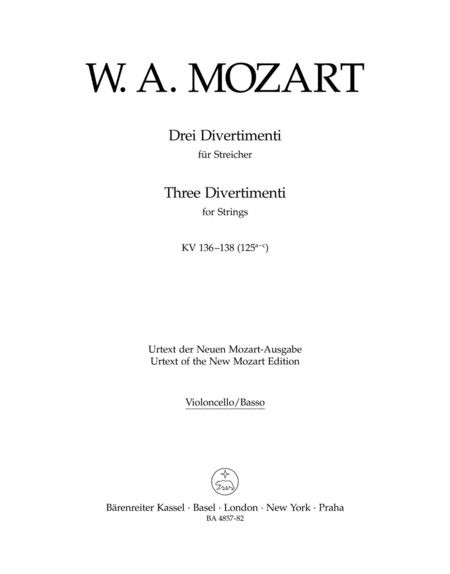 Three Divertimenti for Strings and Winds KV 136-138 (125a-c)