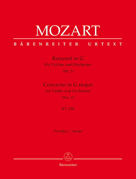 Concerto for Violin and Orchestra, No. 3 G major, KV 216