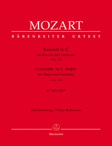 Concerto for Piano and Orchestra, No. 13 C major, KV 415 (387b)