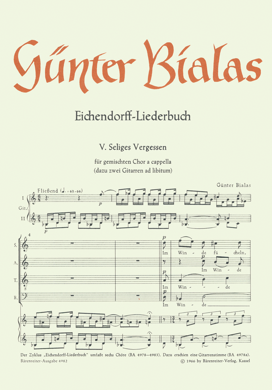 Seliges Vergessen for Mixed Choir a cappella