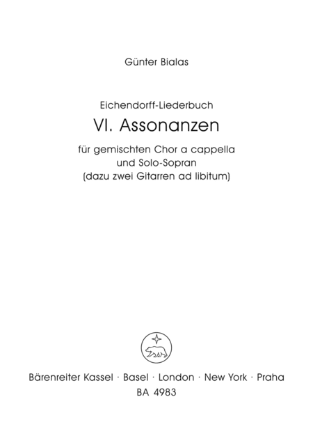 Assonanzen for Mixed Choir a cappella und Solo-Sopran