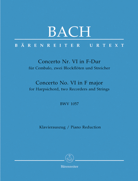 Concerto for Harpsichord, zwei Blockfloten und Streicher No. 6 F major BWV 1057